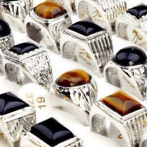 Anel pedra olho de tigre preto cristais Platinum1